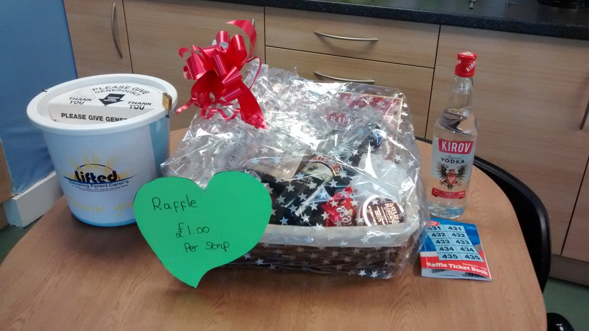 the prizes for our 29th March raffle | Bailey's, vodka, chocolates, toiletries