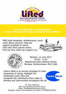Poster for Lifted's Carers Week 2017 Information Event