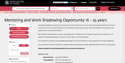 Screenshot of Volunteering Matters' Mentoring and Work Shadowing Opportunity programme page on the Local Offer