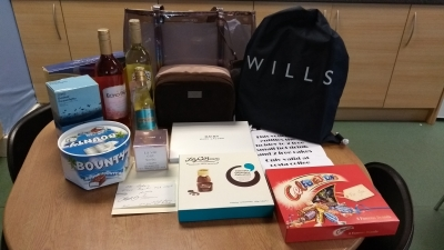 Carers Week raffle prizes - thanks to Boots Wythenshawe, Asda Wythenshawe, Costa Coffee Wythenshawe, Mr Baker's, and our volunteers Anita Mulvey, Sue O'Flaherty, Christine Darby