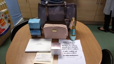 Carers Week raffle prizes - thanks to Boots Wythenshawe, Costa Coffee Wythenshawe, Mr Baker's, and Anita Mulvey