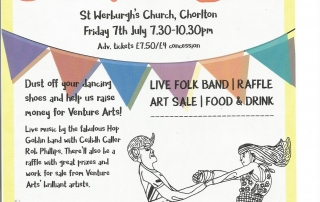 poster for Venture Arts' Ceilidh music and dance fundraiser