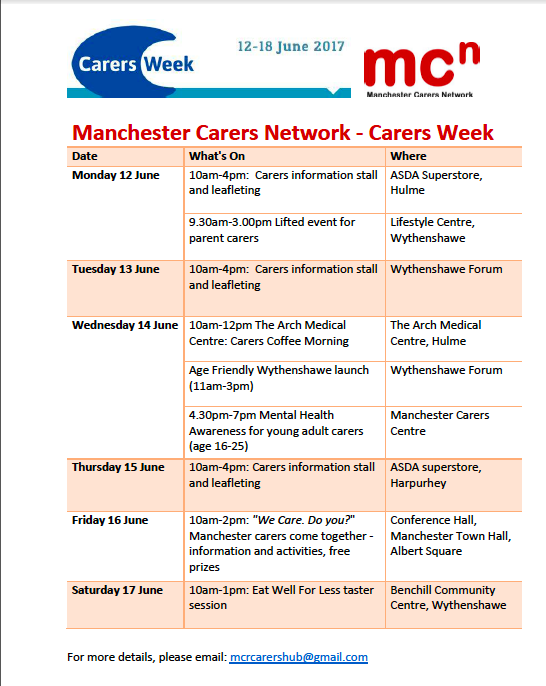 Manchester Carers Network (MCN) Carers Week flyer