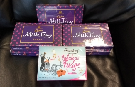 tombola prize - Cadbury Milk Tray, Thorntons Fabulous Fudge