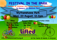 Festival in the Park poster | Lifted Carers' Centre's summer fair event