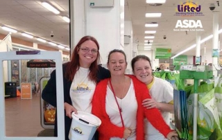 Photo from Lifted's bag packing fundraising activity at Asda Wythenshawe in autumn 2016