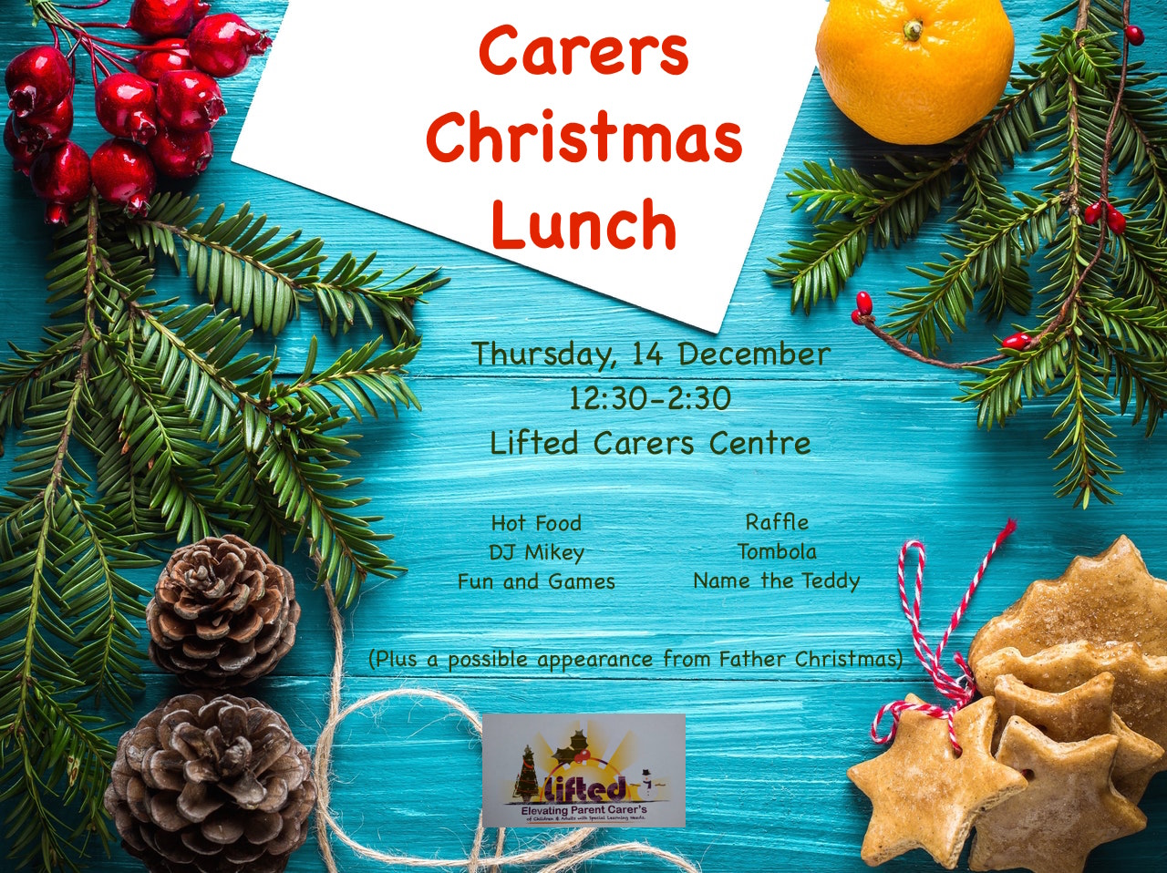Christmas Lunch @ Lifted Carers Centre 2017 landscape poster | image source: pexels.com