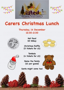 Christmas Lunch @ Lifted Carers Centre 2017 portrait poster | main image source: pexels.com | illustration sources: clker.com