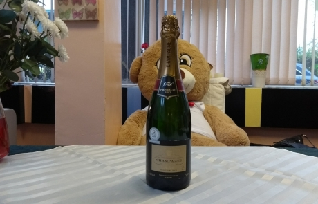 Bottle of Tesco champagne for the Lifted Christmas raffle