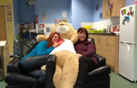 Name the Bear Christmas 2017 | Lifted's Christine and Emma with our giant bear