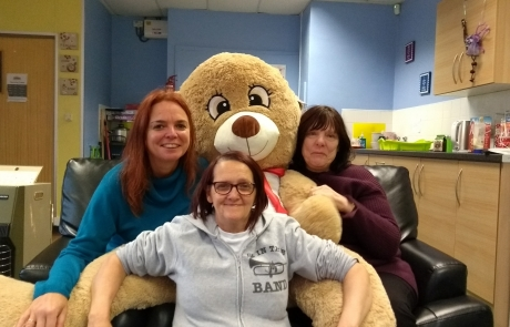 Name the Bear Christmas 2017 | Lifted's Christine, Emma and Sue with our giant bear