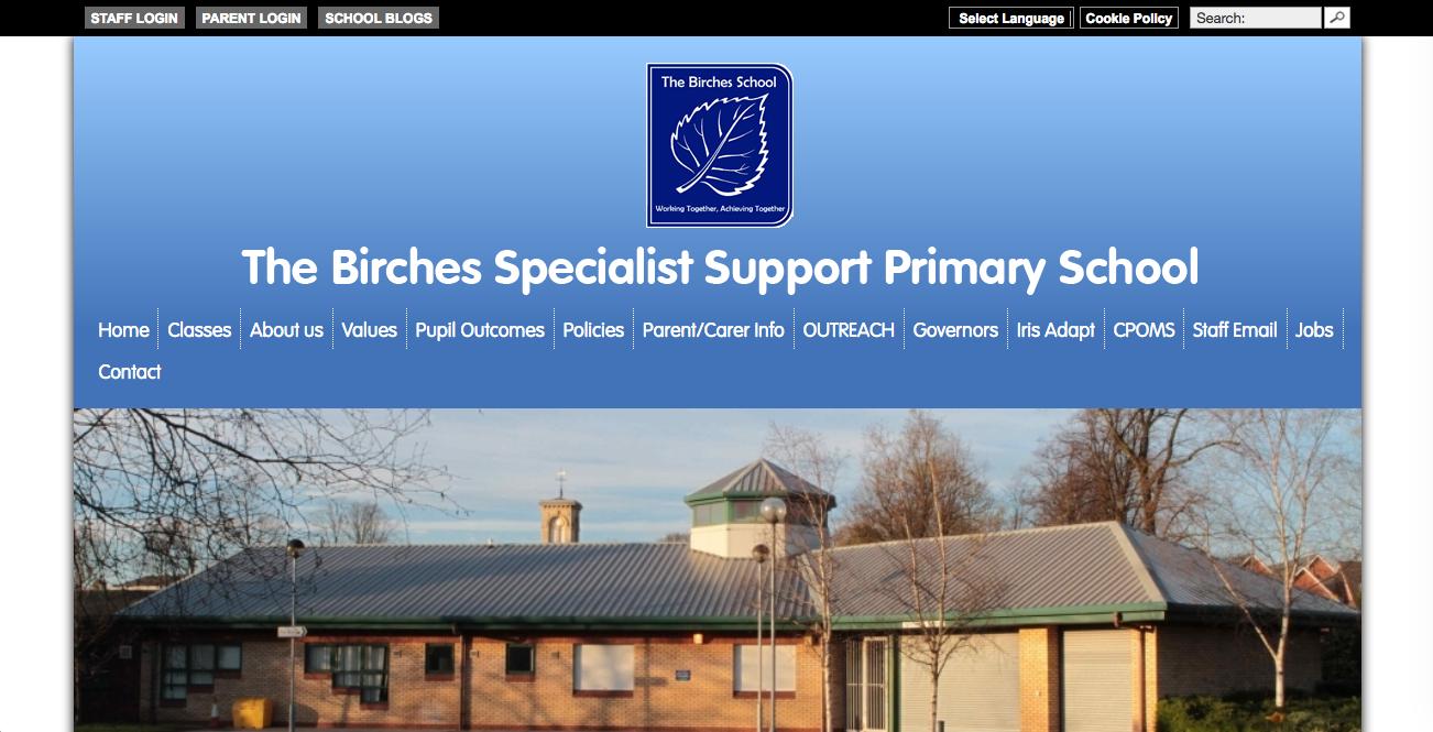 Screenshot of The Birches School website