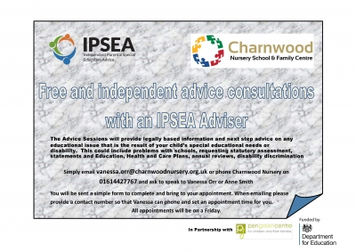 IPSEA-Charnwood face-to-face advice Flyer | IPSEA | Pen Green Centre | Charnwood Nursery