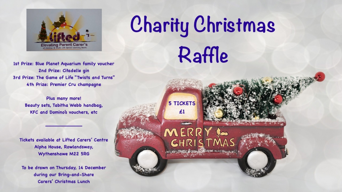 poster for Lifted carers' centre's Christmas raffle 2017
