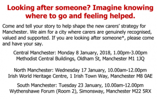 "screenshot from the invitation to the ""Carers in Manchester - Shaping the Strategy"" event"