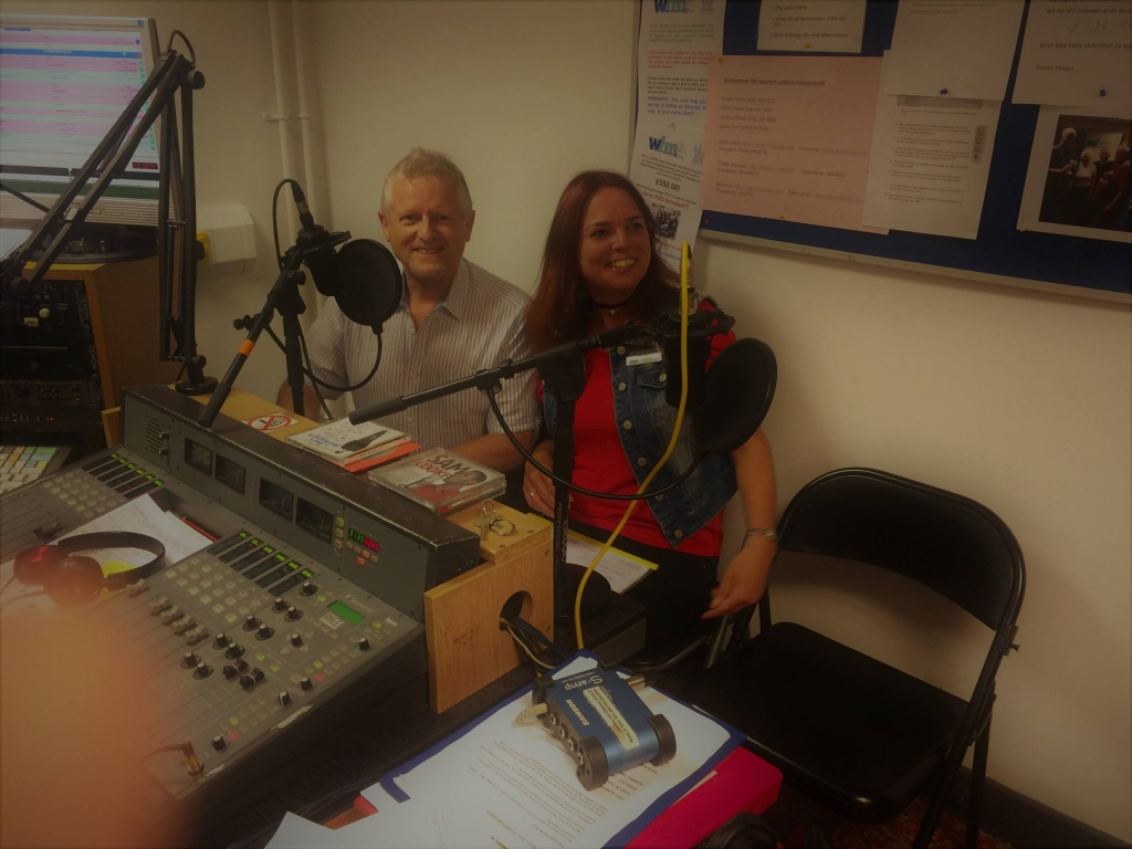 photo of Emma at the Wythenshawe FM studio in July 2017
