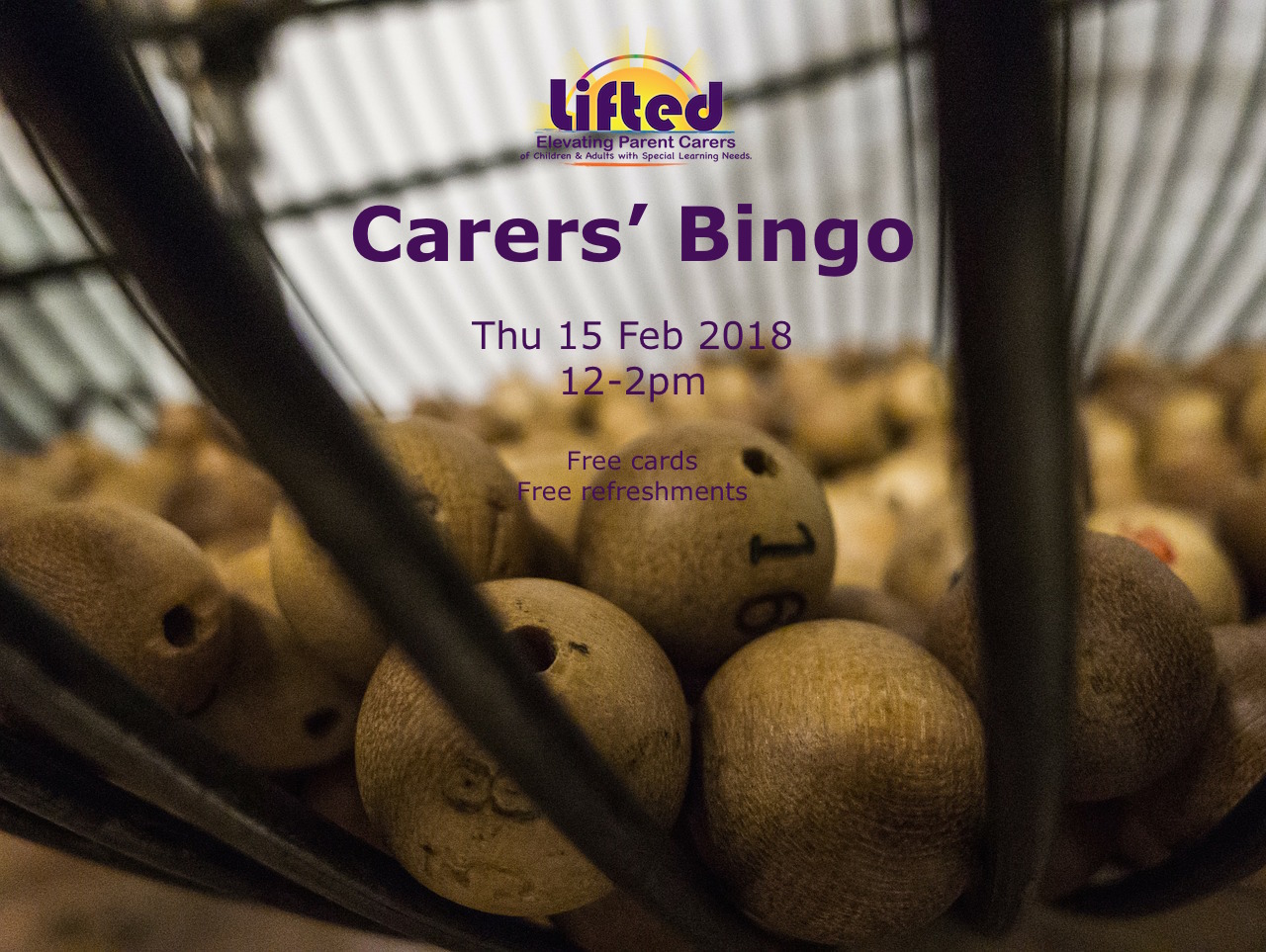 Lifted Carers' Bingo 2018 poster | original image from pixabay.com