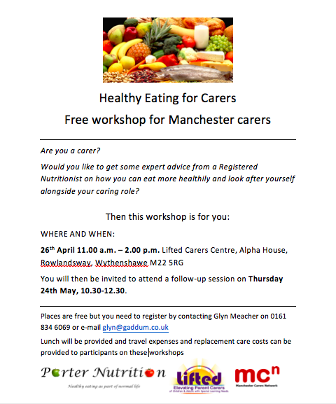 Screenshot of the Healthy Eating for Carers workshop @ Lifted flyer