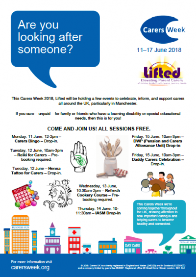 Poster listing Lifted's events for Carers Week 2018 | image credits: carersweek.org, clker.com, pixabay.com