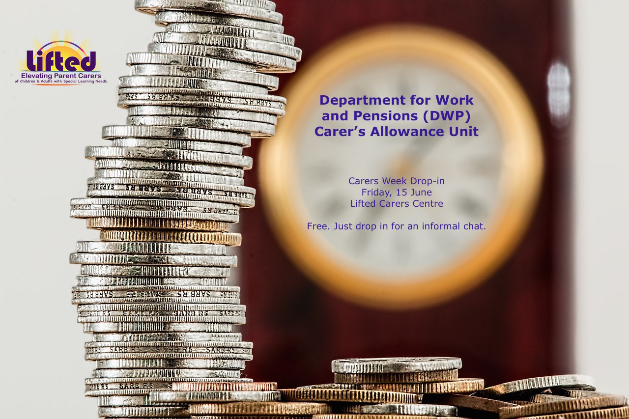 Poster for the DWP Carer's Allowance Unit drop-in during Carers Week | photo credit: pixabay.com