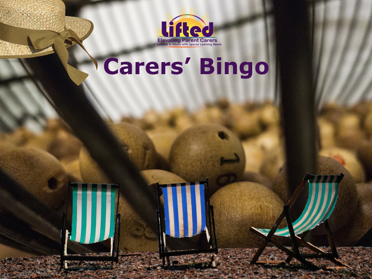 Teaser poster for Lifted Carers' Summer Bingo 2018 | background image: bingo balls; foreground images: deck chairs and summer hat | original images from pixabay.com