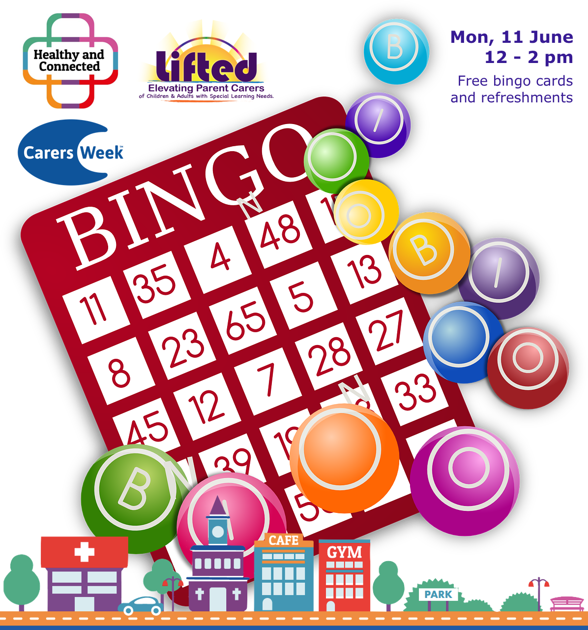 Poster for Lifted Carers' Spring Bingo 2018 | original images from pixabay.com and pexels.com | Carers Week logos via carersweek.org