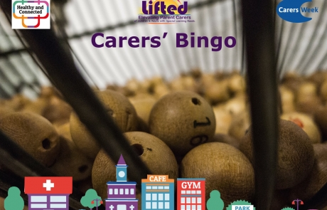Lifted Carers Week 2018 Bingo teaser | original images from pixabay.com | Carers Week logos from carersweek.org