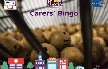 Lifted Carers Week 2018 Bingo teaser | original images from pixabay.com | Carers Week logos from carersweek.org