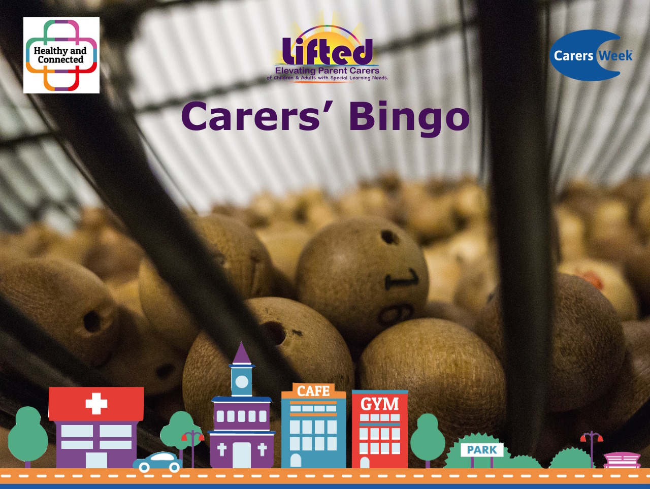 Teaser image for Lifted's Carers Week Bingo 2018 | original images from pixabay.com | Carers Week logos via carersweek.org
