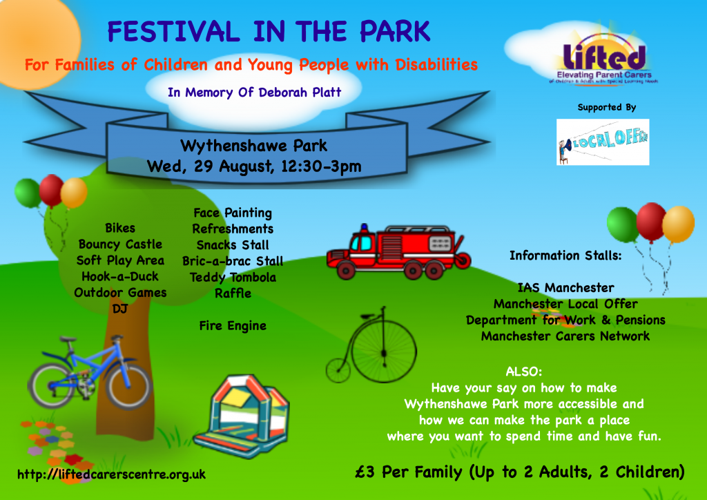 Festival in the Park 2018 poster | Lifted Carers' Centre's summer fair event at Wythenshawe Park in August 2018