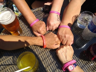 "carers from Lifted showing off their ""NHS Think Carer"" wristbands"