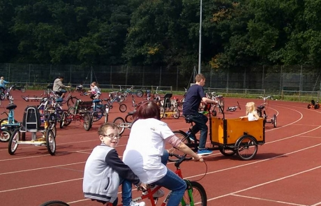 Tandem cycling at the Festival in the Park 2017 in Wythenshawe Park Athletics Track