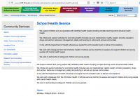 Screenshot of Manchester's School Health Service page on the NHS CMFT website