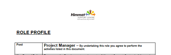 screenshot of Himmat's Project Manager role specifications