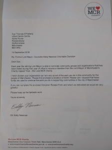 The letter from We Love MCR Charity informing Lifted of their donation, as chosen by Councillor Eddy Newman