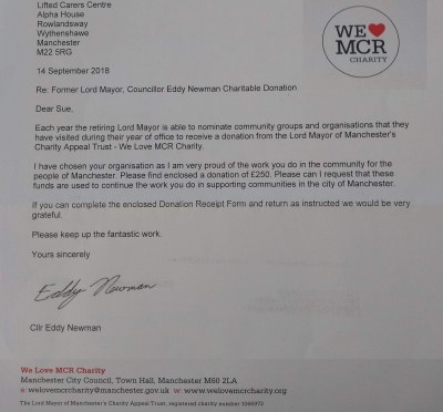 Cropped photo of the letter from We Love MCR Charity informing Lifted of their donation, as chosen by Councillor Eddy Newman