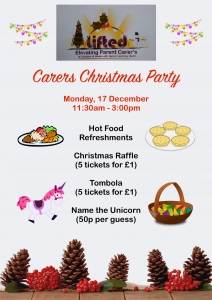 Christmas Party @ Lifted carers' centre 2018 flyer | main image source: pexels.com | illustration sources: clker.com, openclipart.org