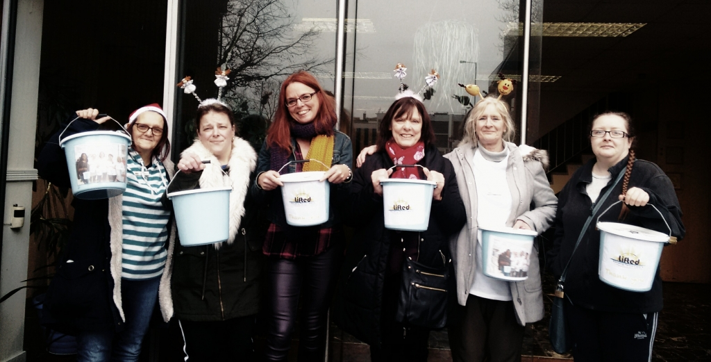 Photo from Lifted's bag packing fundraising activity at Asda Wythenshawe in winter 2017