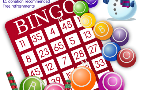 Poster for Lifted Carers' Christmas Bingo 2018 | background image: bingo card and balls; foreground images: santa's bag, snowman, candy canes | original images from pixabay.com and pexels.com
