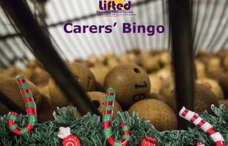 Teaser poster for Lifted Carers' Christmas Bingo 2018 | background image: bingo balls; foreground images: candy canes and holly | original images from pixabay.com and pexels.com