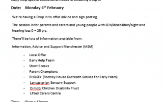 Flyer for the February 2019 SEND Coffee Morning listing down organisations holding stalls on the day