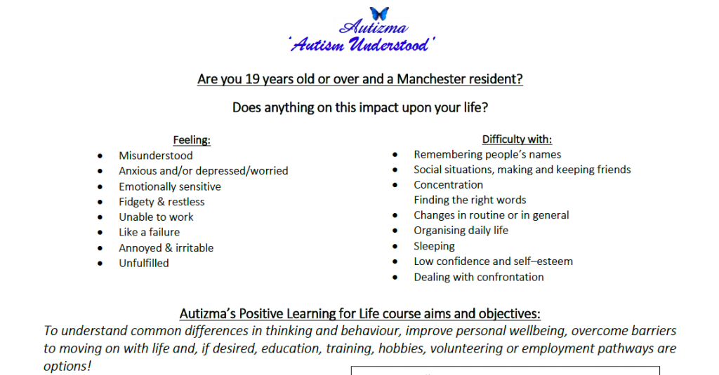 """Teaser of Autizma's """"Positive Learning for Life"""" course - cropped from a screenshot of the poster (all text + Autizma's logo)"""