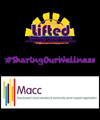 Lifted's and Macc's logos sandwiching the #SharingOurWellness hashtag
