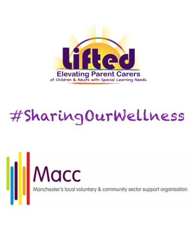 Lifted's and Macc's logos sandwiching the #SharingOurWellness hashtag