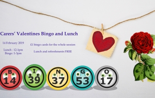 Poster for Lifted Carers' Valentine's Bingo and Lunch 2019 | background image: heart pendant; foreground images: rose, bingo balls | original images from pixabay.com and unsplash.com