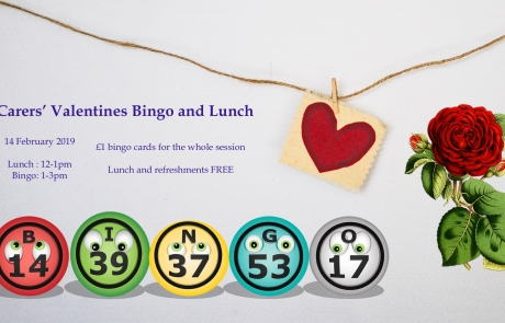 Teaser poster for Lifted Carers' Valentine's Bingo and Lunch 2019 | background image: heart pendant; foreground images: rose and bingo balls | original images from pixabay.com and unsplash.com