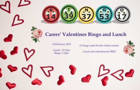 Poster for Lifted Carers' Valentine's Bingo and Lunch 2019 | background image: hearts wallpaper; foreground images: roses and bingo balls | original images from pixabay.com and pexels.com
