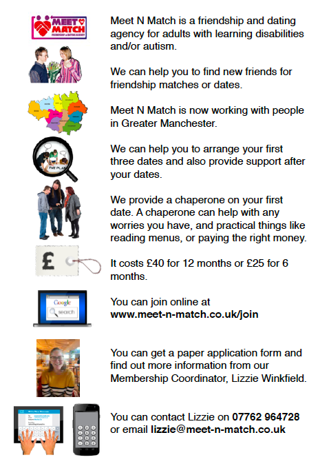 "Meet N Match's ""Easy Read flyer"" with text about the agency and showing photos of dating, friendship, online devices, and a simplified map of Greater Manchester"