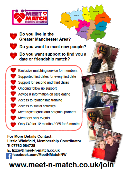 "Meet N Match's ""Easy Read flyer"" with text about the agency and showing photos of various couples and a simplified map of Greater Manchester"