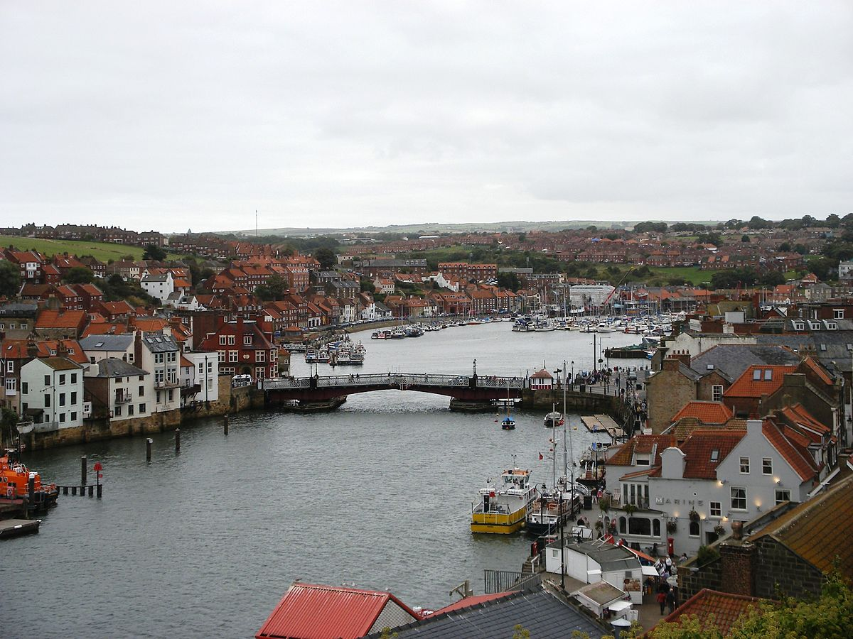 A view of Whitby Bridge and the River Esk, and the towns surrounding the area